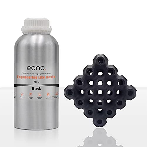 Amazon Brand - Eono Resina per Stampante 3D, LCD UV 405nm ABS Like Upgrade Engineering Like Resina Fotopolimerica Rapida per Stampanti 3D LCD/DLP/SLA (500 Gram, Nero)