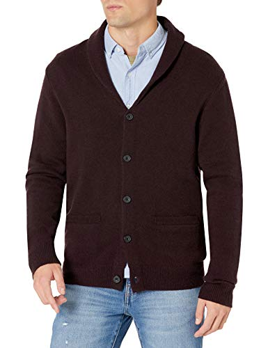Amazon Brand - Goodthreads Men's Lambswool Long-Sleeve Shawl Collar Cardigan Sweater, Burgundy, Medium