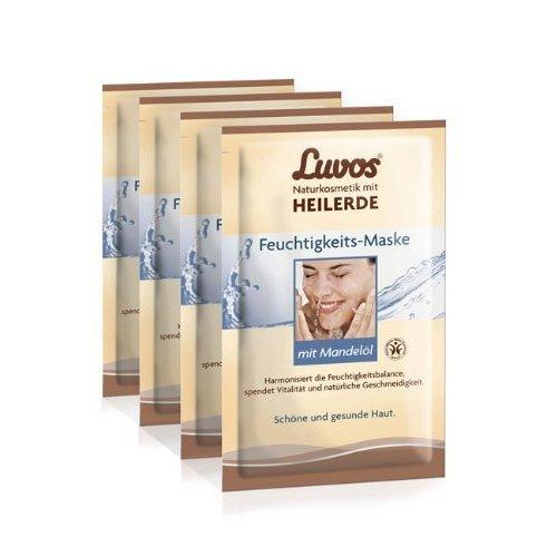 Luvos Feuchtigkeits-Maske mit Mandelöl (4er Pack) - Creme Maske im Sachet (8x7,5 ml)