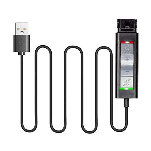 Conector de desconexión rápida para auriculares Plantronics a cable adaptador USB con volumen, silencio para altavoz y micrófono por separado y conector QD para auriculares VoiceJoy