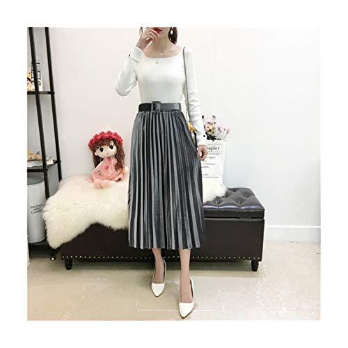 FairyShely Falda larga plisada vintage para mujer, cintura alta, falda midi coreana, cinturn elstico negro coreano, maxi faldas para mujer (color gris, tamao: talla nica)