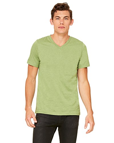 Bella + Canvas Unisex Jersey Short-Sleeve V-Neck T-Shirt - HEATHER GREEN - S - (Style # 3005 - Original Label)