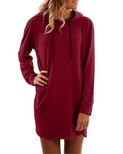 SUNNYME Damen Hoodies Pullover Langarm Jacke Top Sweatshirt Laple Knopf Jumper Weinrot L