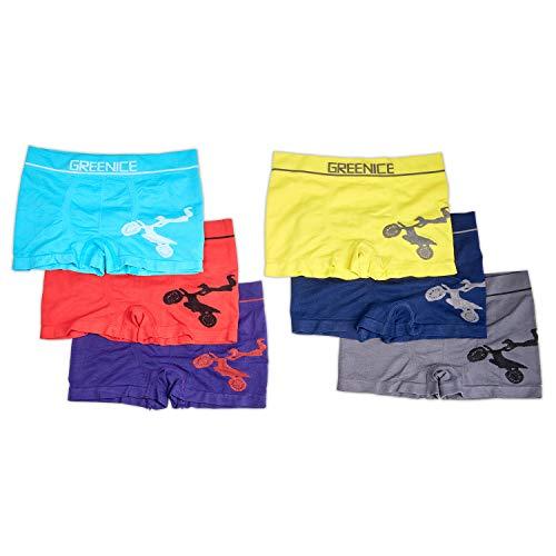Sleques Premium Boxershorts 6er Pack - Hochwertige Kinder Unterhosen - Optimaler Mikrofaser Shorts für Jungen - Farbenvielfalt - Größe 152-164 (14-16) A.4361