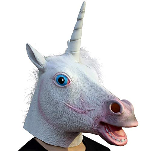 CreepyParty Fiesta de Disfraces de Halloween Máscara de Látex Cabeza de Animal Unicornio Máscara de Carnaval