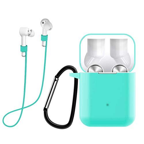 Yoowei Funda Compatible con Xiaomi AirDots Pro, 3in1 Silicona Funda + Cable de Auriculares + Gancho de Msetal, Protectora para Auriculares Estuche en Verde Menta