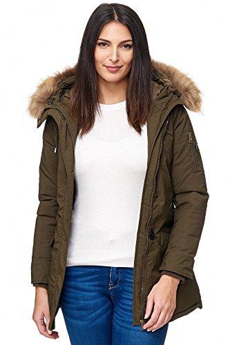 Elara Damen Winterparka | Jacke mit Echt Pelz / Echt Fell Kapuze | Designer Damenjacke | Gefütterte Outdoor Mantel | chunkyrayan, Größe 34, Farbe Olive -