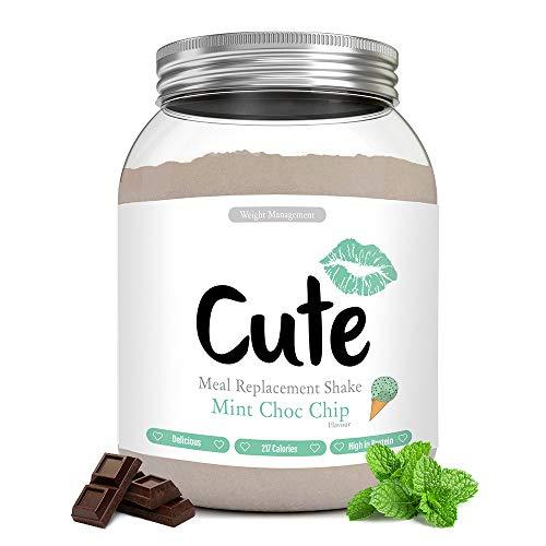 Cute Nutrition Batido Sustitutivo de Comida Sabor Menta y Chocolate para el Control de la Pérdida de Peso en Polvo Bebida Dietética Para Mujer Bote de 500g