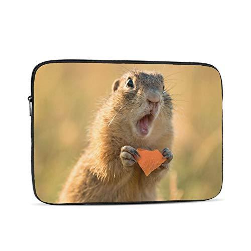 Eichhörnchen lustiges Tier trifft,reizendes Grundeichhörnchen auf einer Wiese unter Blumen Laptop-Hülle kompatibel für Apple MacBook Mac Acer Aspire Samsung Lenovo Oberflächenbuch HP Laptop-Umhängetas