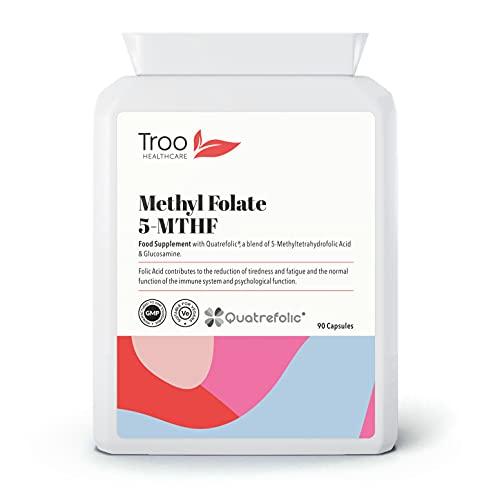 Folic Acid 600µg 90 Capsules as Quatrefolic Methyl Folate 5-MTHF Supplement -...