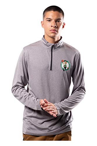 Ultra Game NBA Boston Celtics Mens Quarter Zip Pullover Long Sleeve Tee, Heather Charcoal19, Large