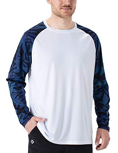 NAVISKIN Camiseta Deportiva Protección UV UPF 50+ Manga Larga Cuello Redondo para Hombre Acampada Senderismo Elástica Térmica Casual Transpirable, Blanco+Azul M