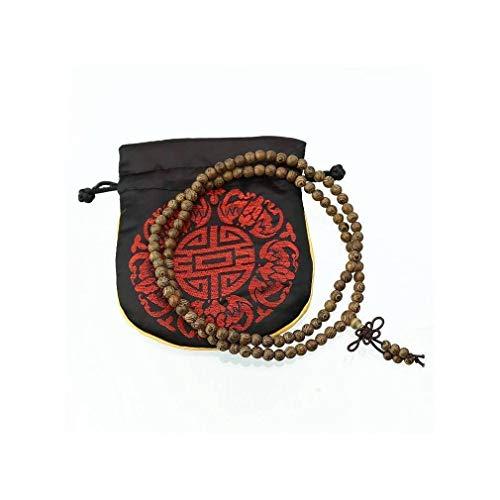 lachineuse Pulsera de Mala Budista con 108 Perlas de Palisandro - con Bolsa de satén
