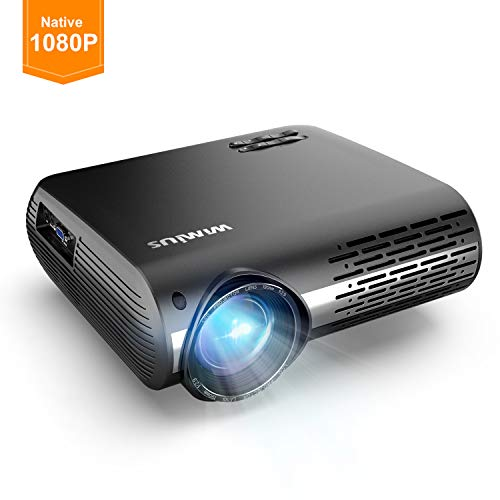 WiMiUS Projector 1080P, 5500 lumen Video Projector HD 1080P with Native 1920x1080P Electronic 4D ±50°Keystone Correction LED Projector Support 4K 300' LCD Projector Compatible Smartphone,TV Box