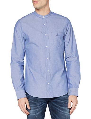 GANT D1. Slim Brushed OXF Band Collar Camisa, Color Azul, L para Hombre