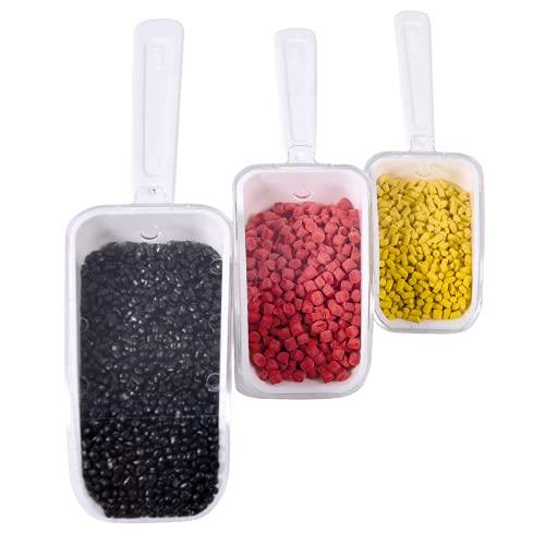 ISOLAB - (Pack de 3) Pala mediana, dosificadora, autónoma con tapa, (25 ml, 50 ml, 100 ml), palas de plástico para hornear, alimentos para mascotas, laboratorio, ropa.