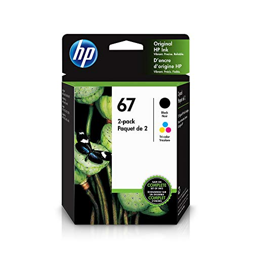 HP 67 | 2 Ink Cartridges | Works with HP Envy 6000 Series, HP Envy Pro 6400 Series, HP DeskJet 1255, 2700 Series, DeskJet Plus 4100 Series | Black and Tri-Color | 3YP29AN