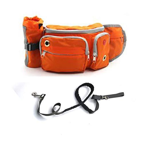 Stelt u zich eens voor oranje Hand Free Dog Leash, hond Lead met verstelbare taille riem, een taille tas met 6 zakken, opslag telefoon, waterfles voor hardlopen, wandelen, wandelen, 46*10*14cm (18.1*3.9*5.5in), ORANJE