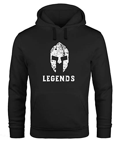 Neverless Hoodie Herren Legends Sparta Spartaner Helm Sweatshirt Kapuze Kapuzenpullover schwarz XL