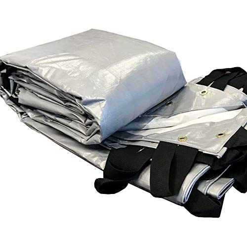 28' x 48' Silver Waterproof Hay Tarp - Multi-Purpose Poly Agricultural Tarps - 12 Mil Thick - Heavy Duty Coverage for Tents and Weather Protection - with Anchor Straps for Tie Down