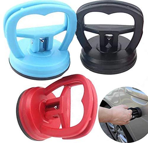 Liuer 3PCS Ventosa Coche Abolladuras Kit Reparacion Moviles Ventosas Extractoras de Pantalla LCD Herramientas(Azul, Negro, Rojo) - 5.7cm - Carga máxima 10kg