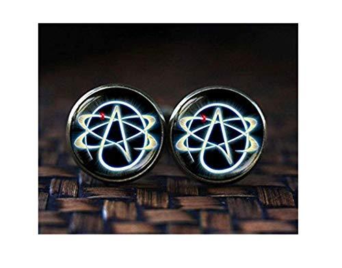 Gemelos con símbolo ateo, gemelos átomo, gemelos ateos, gemelos para hombre, un hermoso regalo