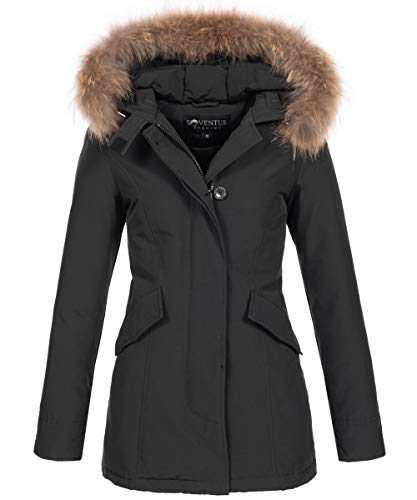 SOVENTUS Damen Parka Winter mit ECHTFELL Fell Winterjacke 70% Daunen, 30% Federn schwarz Gr.XL