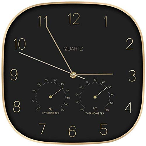 TRSMXYW Wall Clocks for Living Room Modern Creative with Thermometer and Hygrometer Silent Non Ticking Suitable for Family Room Office Restaurants Etc Best Gift