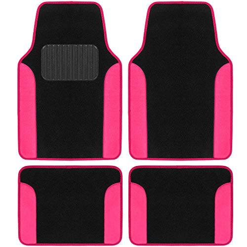 BDK Universal Fit Classic Design Plush Carpet Car Floor Mats for Coupe Sedans SUVs Trucks, Front & Rear with Heelpad & Anti-Slip Nibs Backing, Hot Pink (MT-2414-HP)