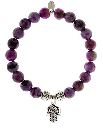 EvaDane 1_Sug_S_T_HAM_7 Natural Semi Precious Sugilite Gemstone Tibetan Bead Hamsa Charm Stretch Bracelet