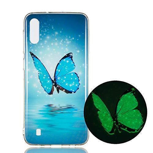 Miagon Leuchtend Luminous Hülle für Samsung Galaxy A01,Fluoreszierend Licht im Dunkeln Handyhülle Silikon Case Handytasche Stoßfest Schutzhülle,Blau Schmetterling
