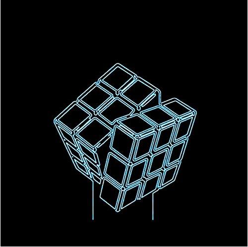 Led 3D Diseño Innovador Visual Rubik'S Cube Modelado Luces Nocturnas 7 Colorido Usb Botón Táctil Lámpara de Escritorio Creativo Niños Juguete de Regalo