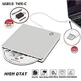 USB3.0 Tipo-C CD externo Unidad de DVD Grabadora Grabadora Portátil ROM delgada Unidad estupenda Grabadora / grabadora / lector con soporte de datos de alta velocidad Windows / Mac OSX
