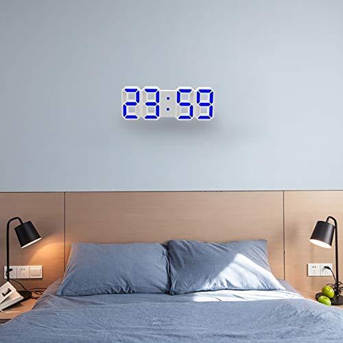 Wall Wecker Multifunktions-große 3D-LED-Digitalwand-Wecker mit Snooze-Funktion, 12/24 Stunden Anzeige für Zuhause, Küche, Büro, DC 5V, CE-Zertifiziert (grün), Uhr,Monsteramy (Color : Blue)