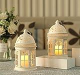 JHY DESIGN Juego de 2 linternas Decorativas Linterna Colgante de Estilo Vintage de 21,6 cm de Altura Candelero de Metal para Eventos de Interior al Aire Libre Paridades Bodas (Blanco)