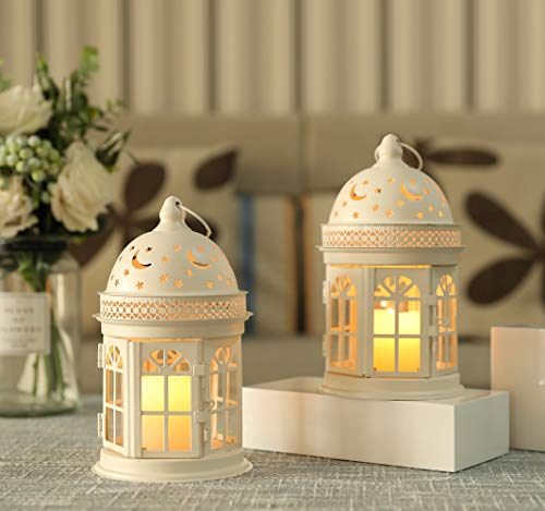 JHY DESIGN Set mit 2 dekorativen Laternen - 21 cm hohe Hängelaterne im Vintage-Stil, Metallkerzenhalter für Veranstaltungen im Freien, Paritäten und Hochzeiten (weiß)