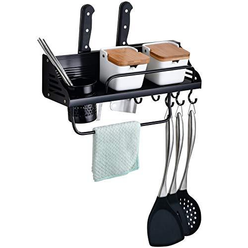 Liesun Küchenleiste, küchenreling, küchenstange, küche hakenleiste, Regal küche Wand, gewürzregal küche, küchenhalterung, aufhänger für küchenutensilien, für Küche Badezimmer Flur usw(40cm)