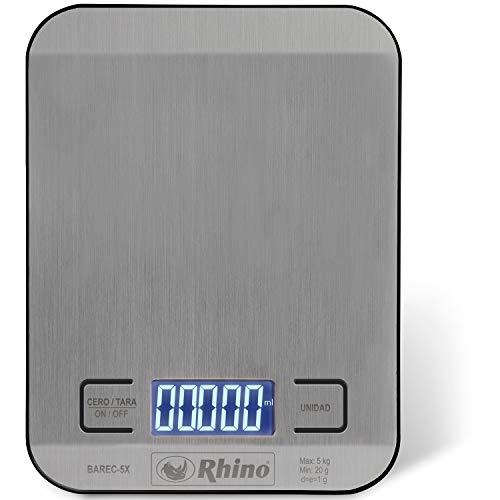 Balança Retangular de Cozinha 5 kg. / 1 g. Rhino BAREC-5X. Superfície de aço inox grau alimentício. Pesa em onças, mililitros, libras-onças e gramas. Funciona com 2 baterias AAA incluídas.