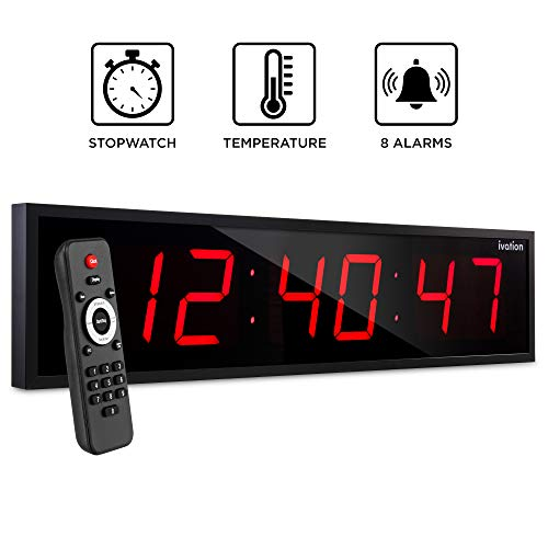 """Ivation Huge 36"""" Inch Large Big Oversized Digital LED Clock with Stopwatch, Alarms, Countdown Timer & Temp - Shelf or Wall Mount (Red) 
