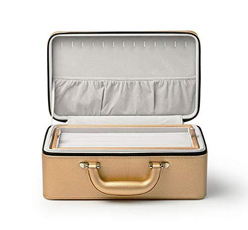 FGA Joyero Joyero Maleta Premium Cuero de PU Línea de automóvil Caja de Almacenamiento de joyería Artesanal