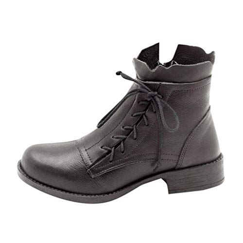 Lowest Price! Theoylos Women's Leather Ankle Booties Retro Non-Slip Short Boots Ladies Round Toe Lac...