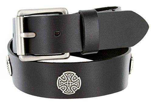 Genuine One Piece Leather Black Casual Belt, Roller Buckle, Celtic Cross Conchos (38 Black)