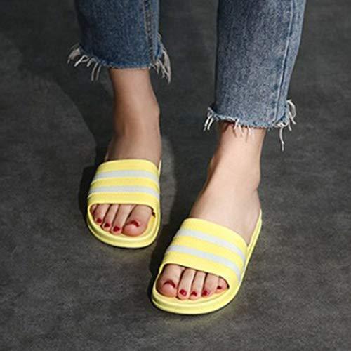 Slippers Vrouwelijk Huis van de zomer Indoor Badkamer Non-Slip Bathing zachte bodem homewear Leuk Mannelijk Startpagina sandalen en slippers Couple,Yellow,36/37