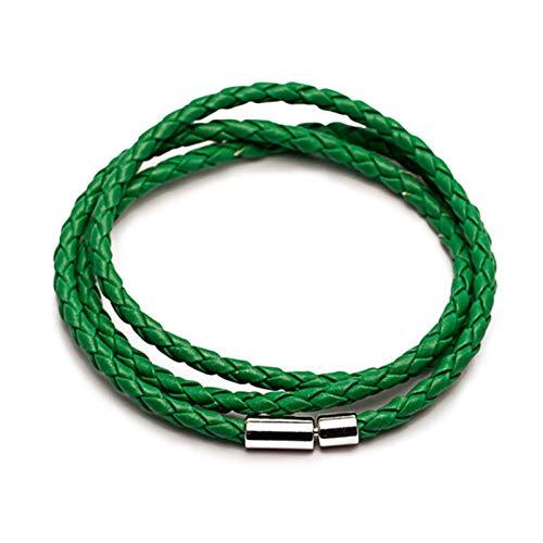 JIEERCUN Pulsera de Cuero Trenzada de PU para Hombres y Mujeres, Cierre de Cuero de joyería de múltiples Capas, Pulsera de Nuevo Encanto de Moda brazaletes (Color : Green)