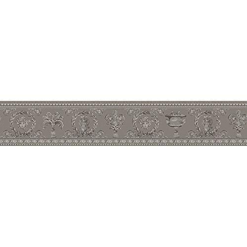 Cenefa estilo barroco barroco beige gris 343053 34305-3 Versace Versace 3 | beige/gris | Rollo (5,00 x 0,09 m) = 0,45 m²