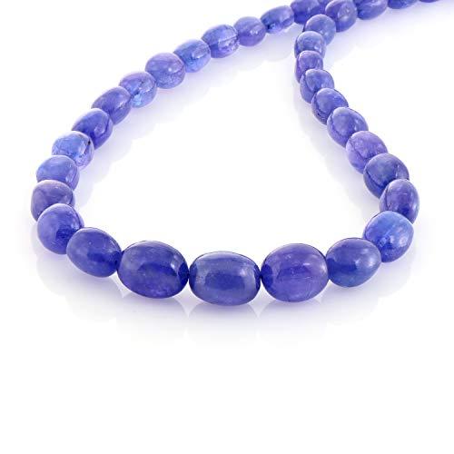 Collana da donna in tanzanite naturale con perle ovali, 45,5 cm, tanzanite, tanzanite, gioiello in...