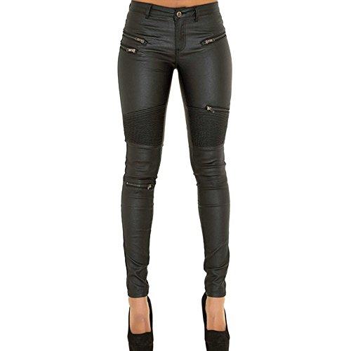 Unbekannt Fußhosen Reißverschluss Frauen Leder Denim Nähen Mehr Reißverschluss Damen Lederhose Hose, schwarz, 38 M
