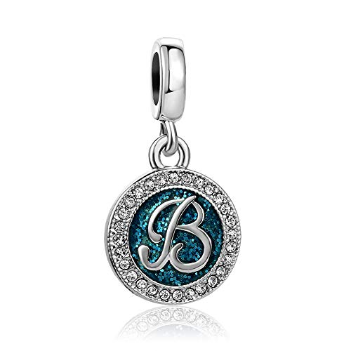 SBI Jewelry Blue Initial Letter Charm for Bracelets B Dangle Charm April Birthstone Gift for Daughter Wife Birthday