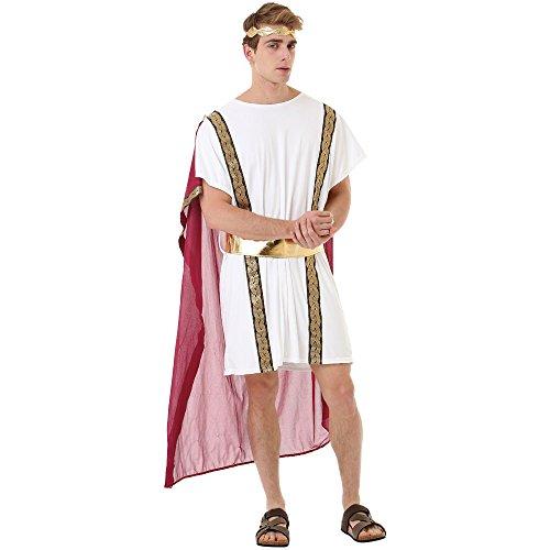 Roman Emperor Men's Halloween Costume - Julius Caesar & Greek Toga King Robe (Medium)