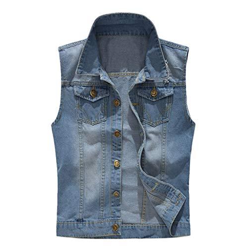 Yowablo Weste leichte Farbe Herrenmode lässig ärmellos gekräuselte Jeans-Weste Top (4XL,4Blau)